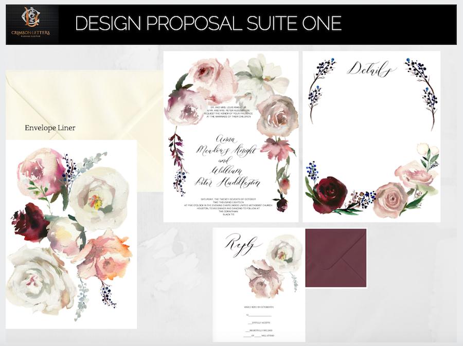 Custom Hand Painted Wedding Invitations- Design suite one