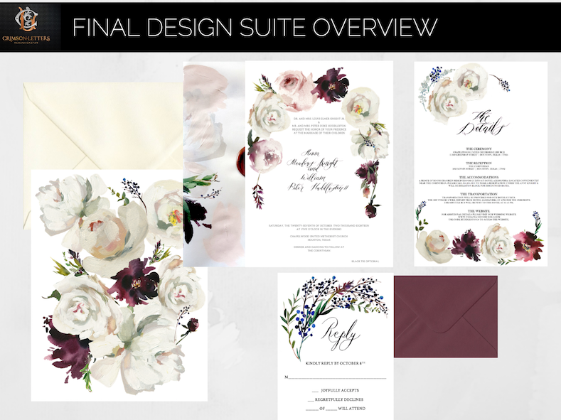 Custom Hand Painted Wedding Invitations- design revisions