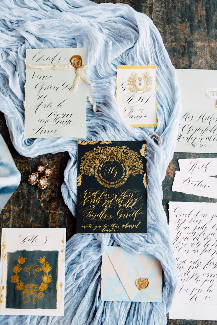French Wedding Inspiration Black, grey and gold wedding stationery suite with table number