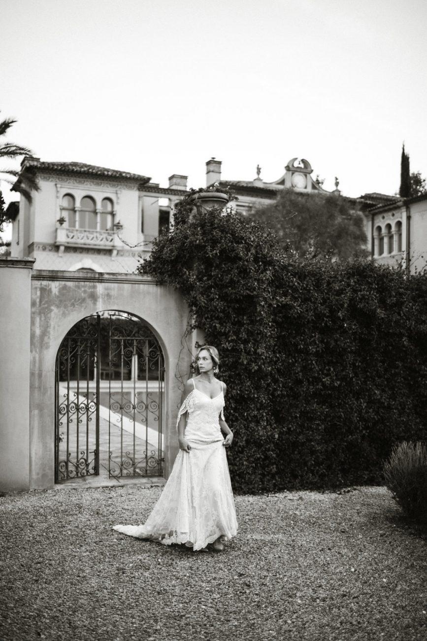 French Wedding Inspiration black and white bride photo