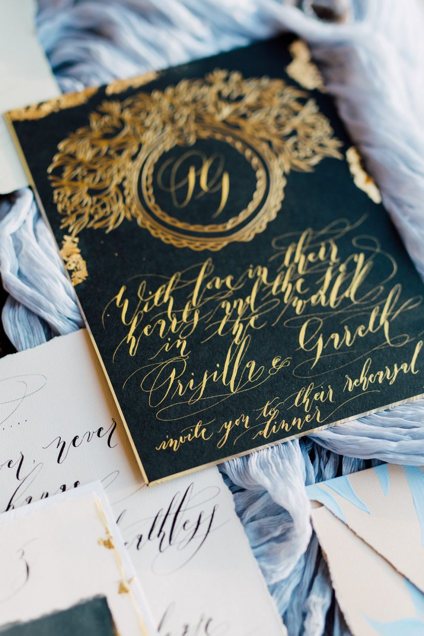 French Wedding Inspiration black wedding invitationwith gold foil and gold calligraphy