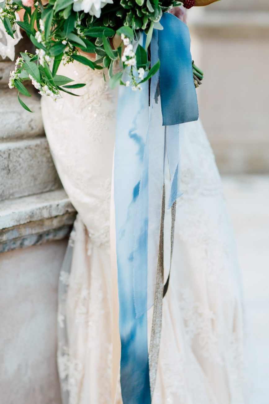 French Wedding Inspiration bouquet with blue silk ribbons