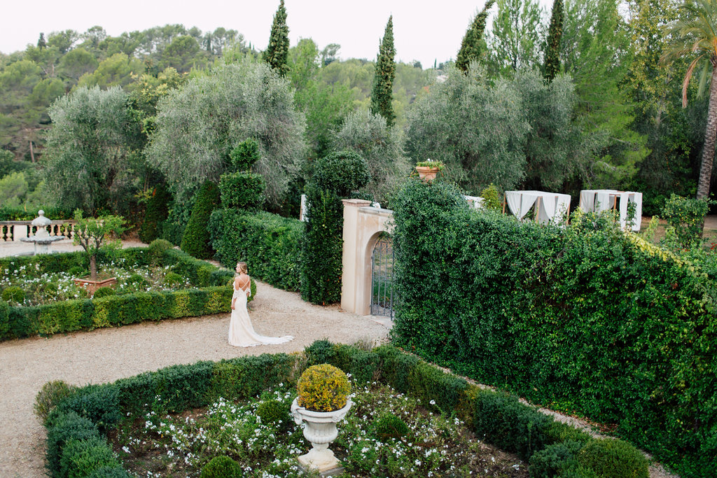 French Wedding Inspiration bride in gardens