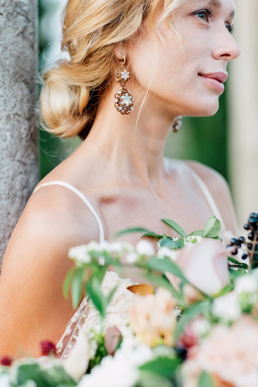 French Wedding Inspiration bride with earrings