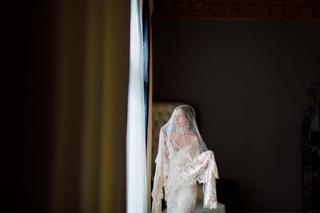 French Wedding Inspiration bride with veil with thick embellished edge
