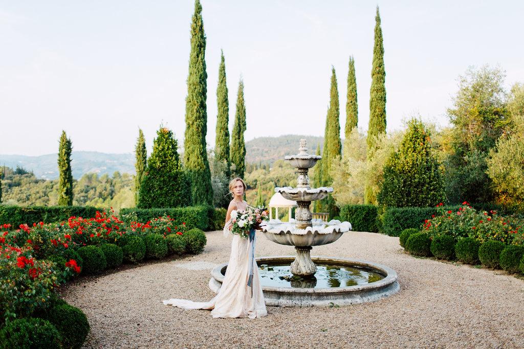 rench Wedding Inspiration fountain in gardens