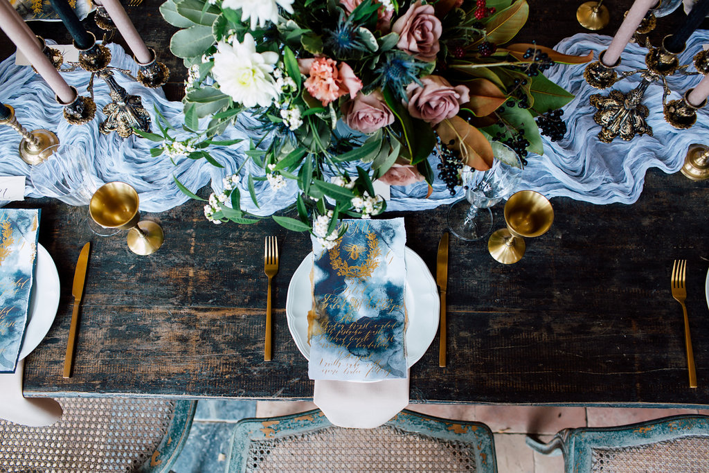 French Wedding Inspiration menus with gold edges with gold glasses