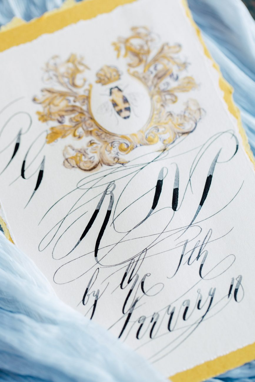 French Wedding Inspiration rsvp card with black calligraphy