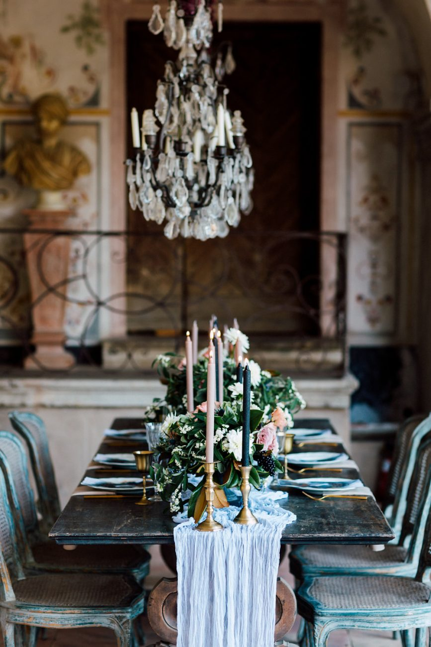 French Wedding Inspiration table and chandelier