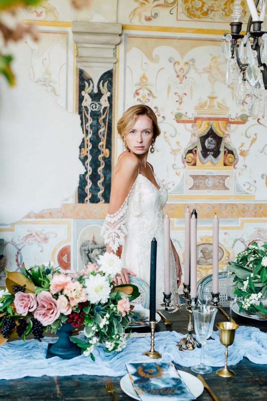 French Wedding Inspiration table setting in a luxury wedding venue with menu
