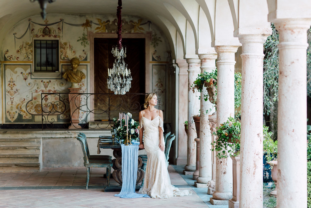 French Wedding Inspiration table setting in a luxury wedding venue