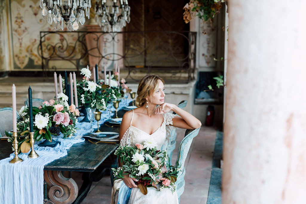 French Wedding Inspiration table setting with flowers and bride