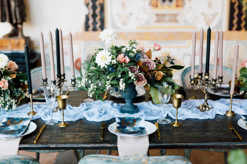 French Wedding Inspiration table setting with flowers and glasses