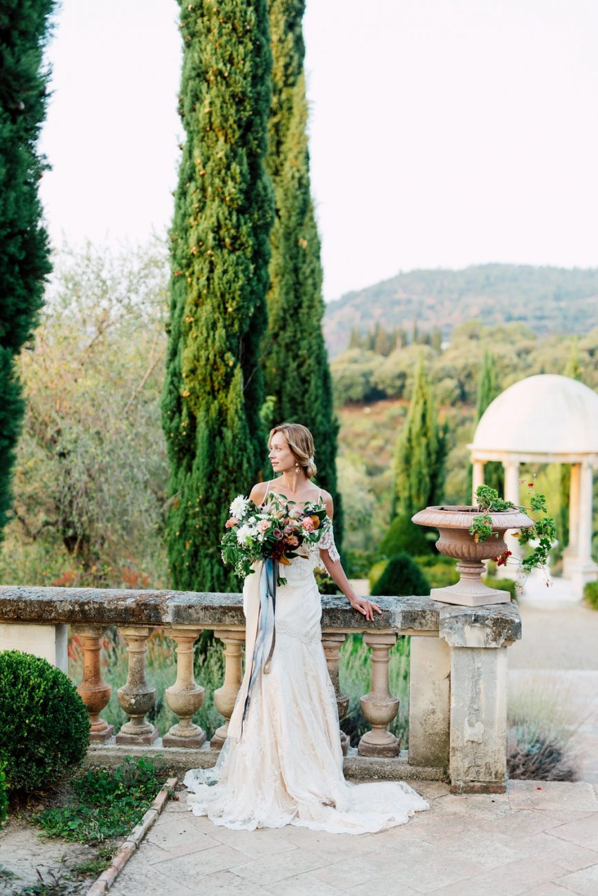 French Wedding Inspiration tall trees and wall