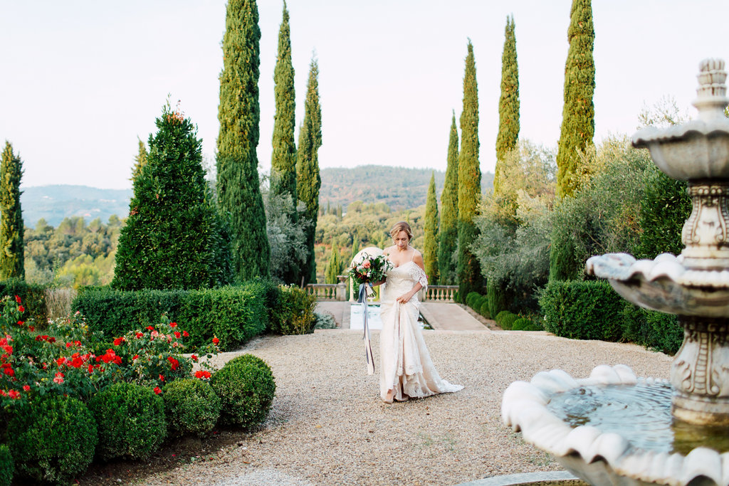 French Wedding Inspiration trees and water fountain