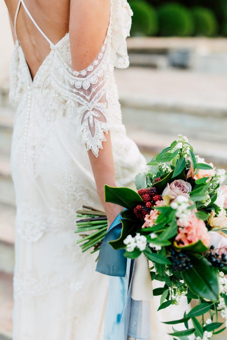 French Wedding Inspiration white dress sleeve detail