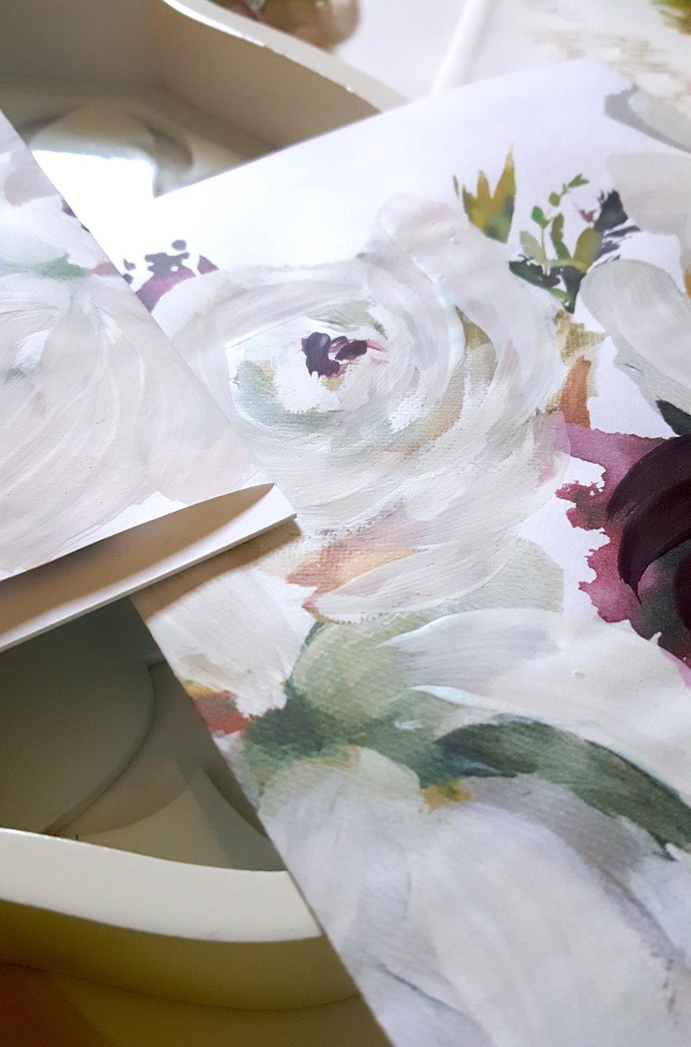 Hand painted wedding invitation wrap