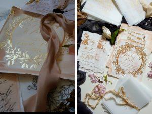 Latest Wedding invitation trends for 2019 gold leaves design