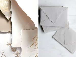 Latest Wedding invitation trends for 2019 hand made paper and envelopes