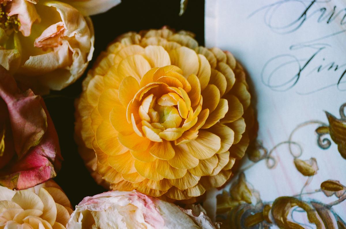 Black & gold hand painted wedding stationery LR flower