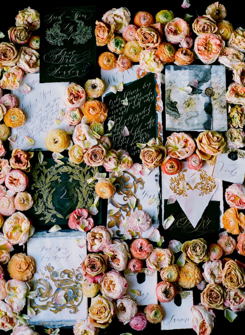 Black & gold hand painted wedding stationery LR full collection