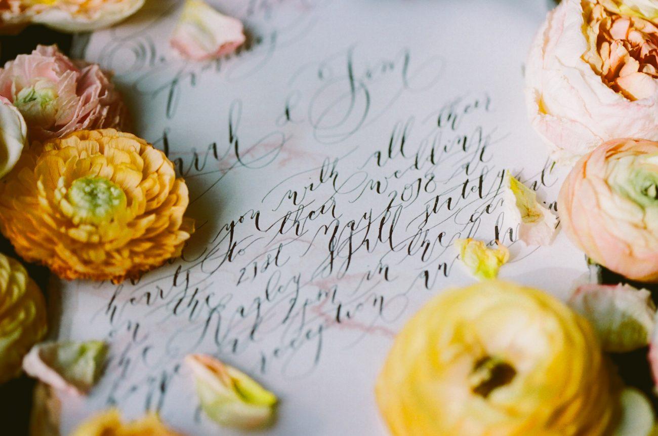 Black & gold hand painted wedding stationery LR invitation calligraphy