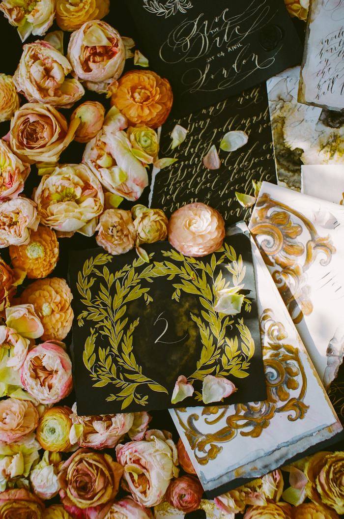 Black & gold hand painted wedding stationery LR table number whole