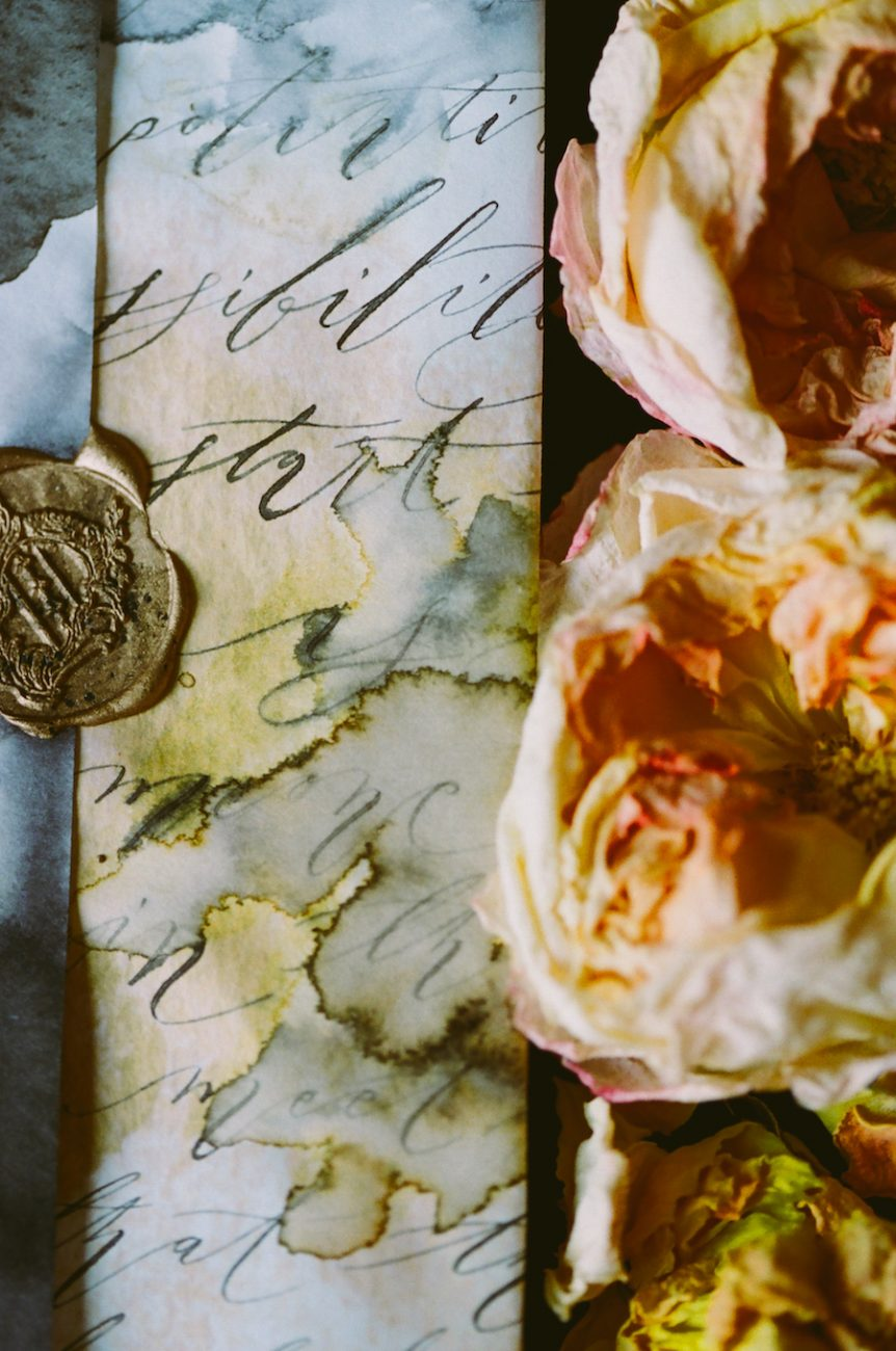 Black & gold hand painted wedding stationery LR watercolour