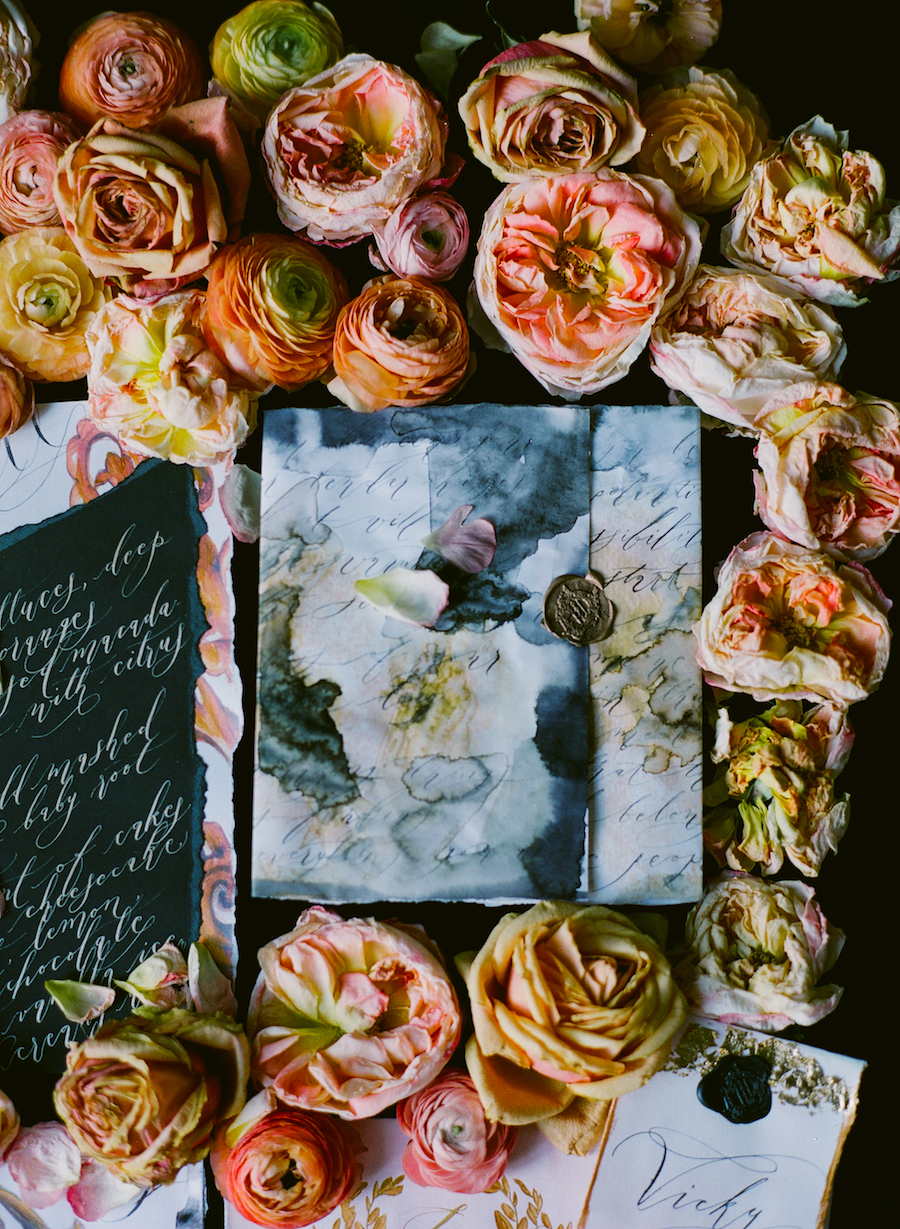 Black & gold hand painted wedding stationery LR watercolour wrap