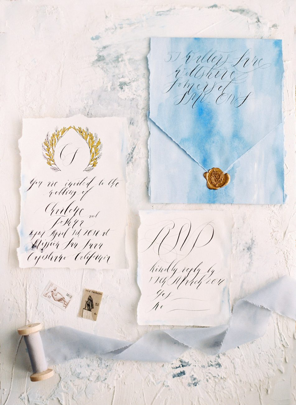 Watercolour wedding invitations envelope and cards ribbon