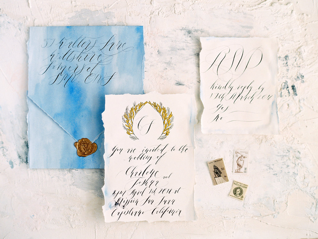 Watercolour wedding invitations envelope and cards