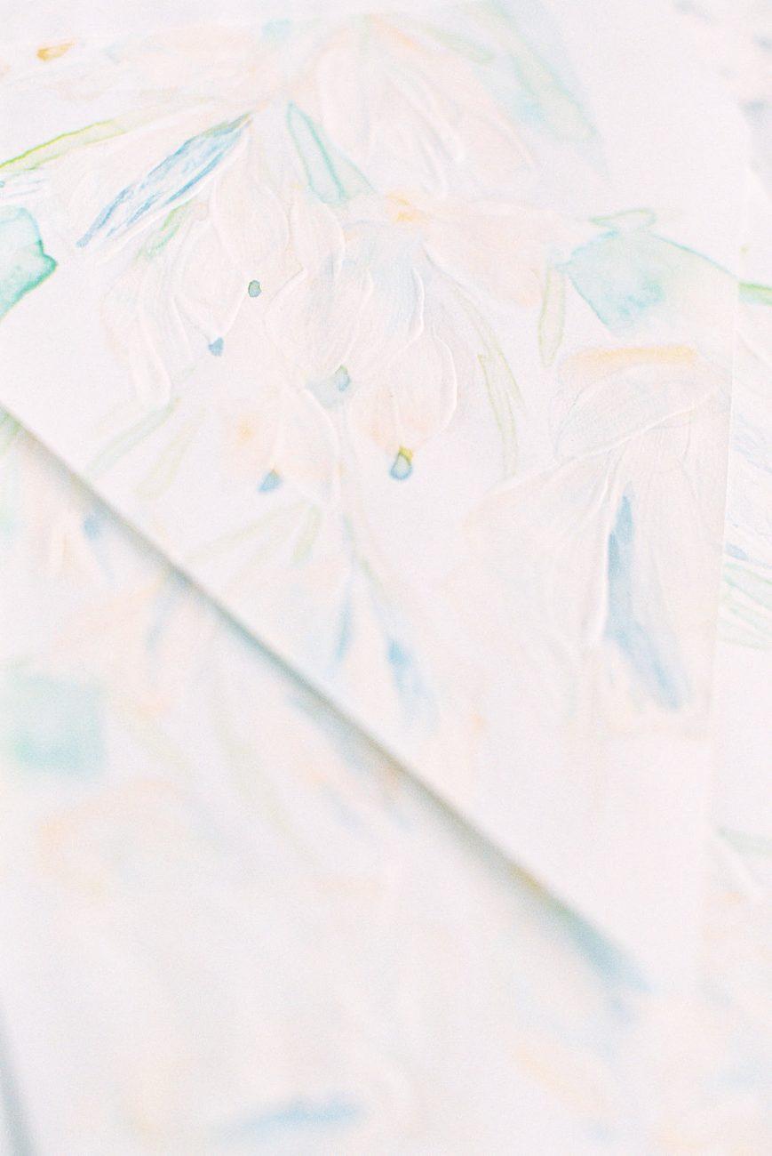 Watercolour wedding invitations envelope close up