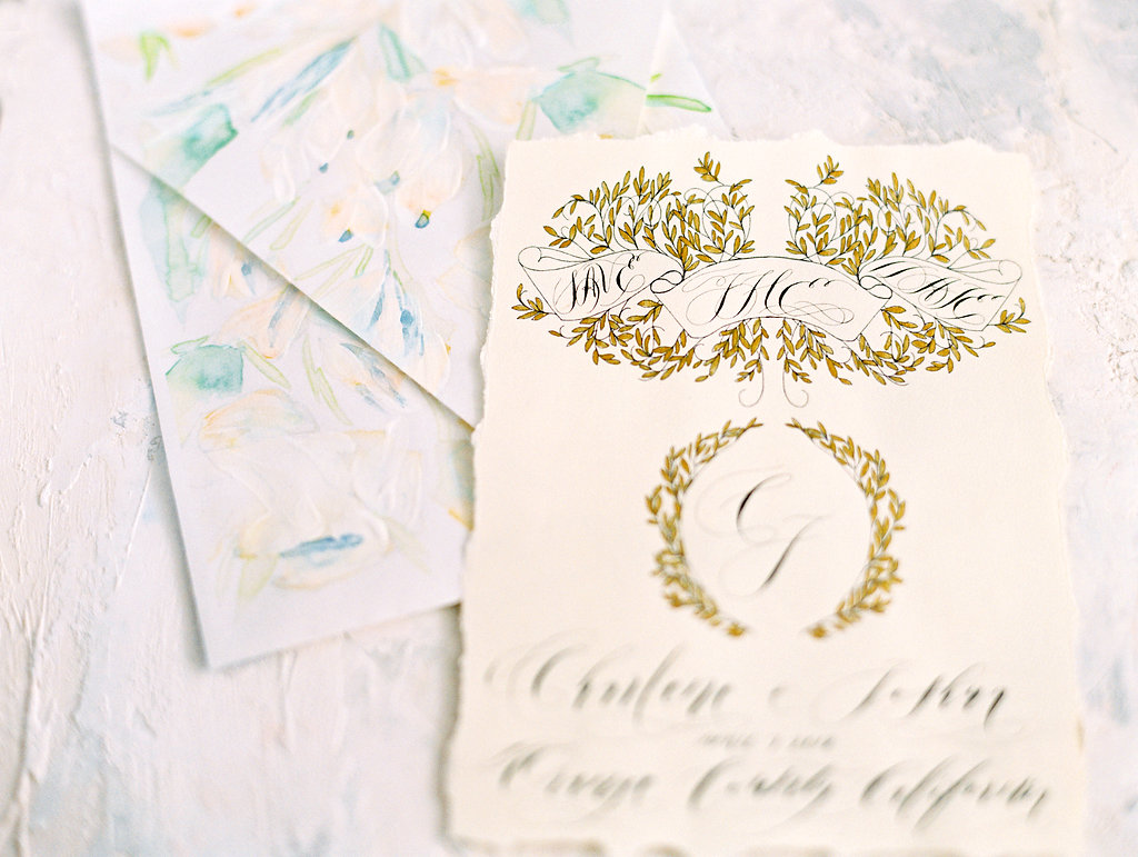 Watercolour wedding invitations save the date and envelope painted