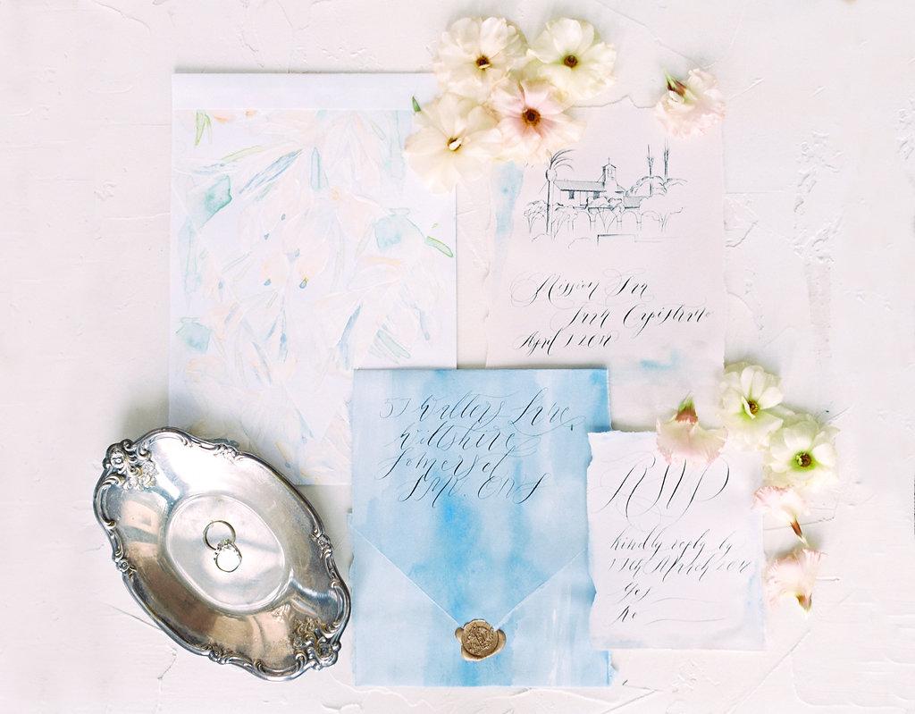 Watercolour wedding invitations tray