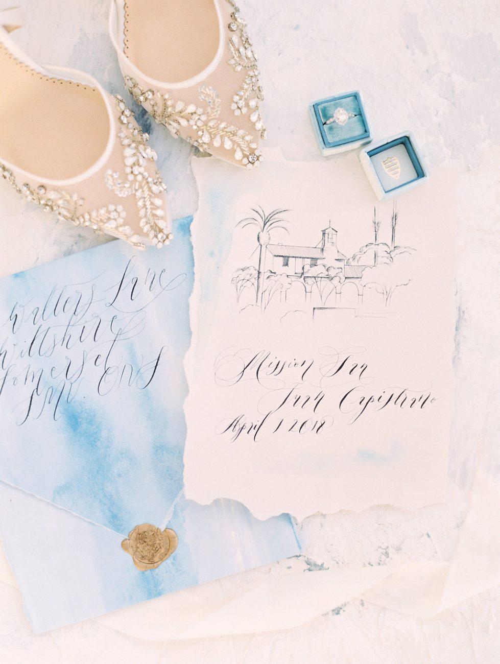 Watercolour wedding invitations venue