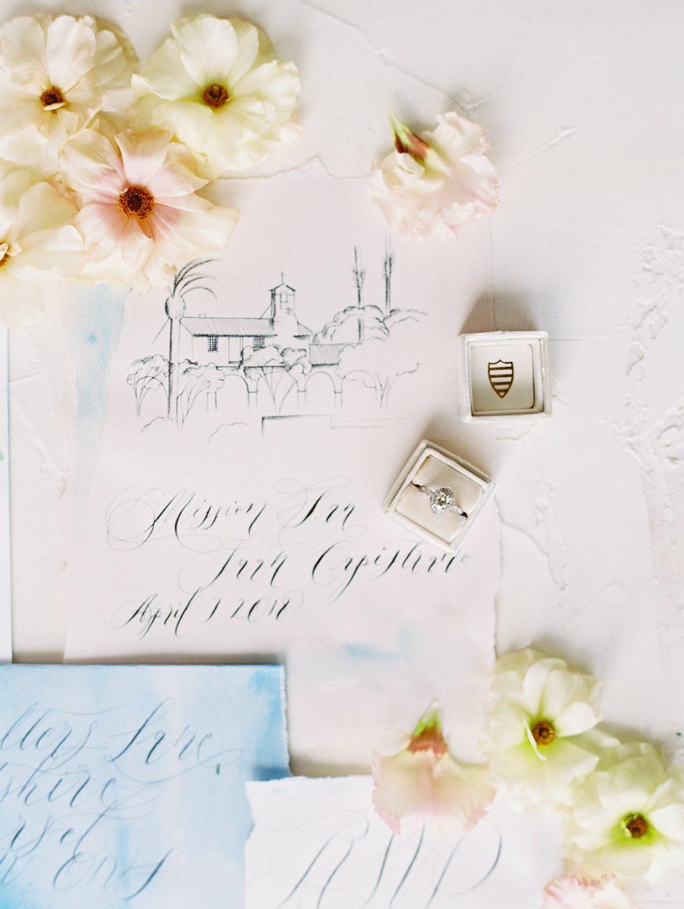 Watercolour wedding invitations venue with ring