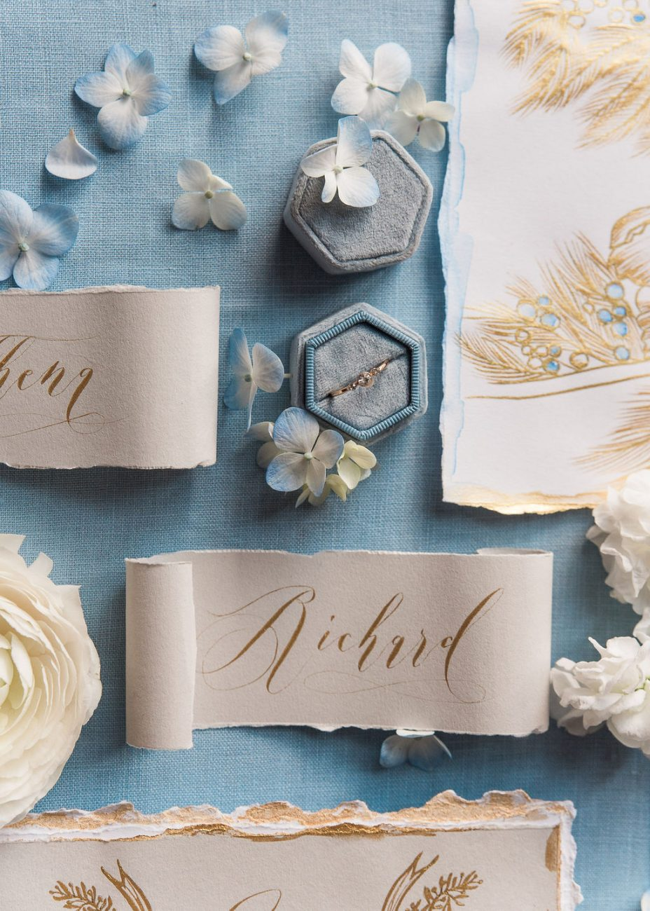 Gold floral illustration detail shot for luxury French style wedding stationery