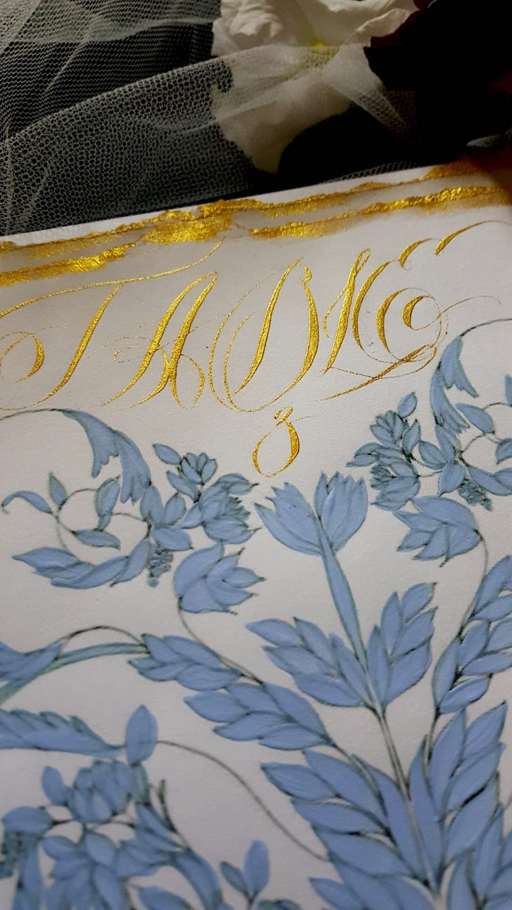 Hand Painted Wedding Invitations gold calligraphy