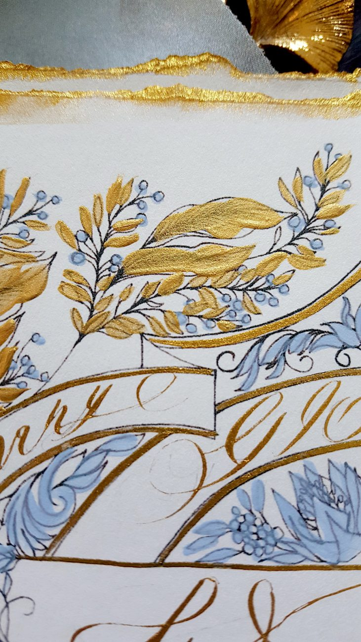 Hand Painted Wedding Invitations gold leaves