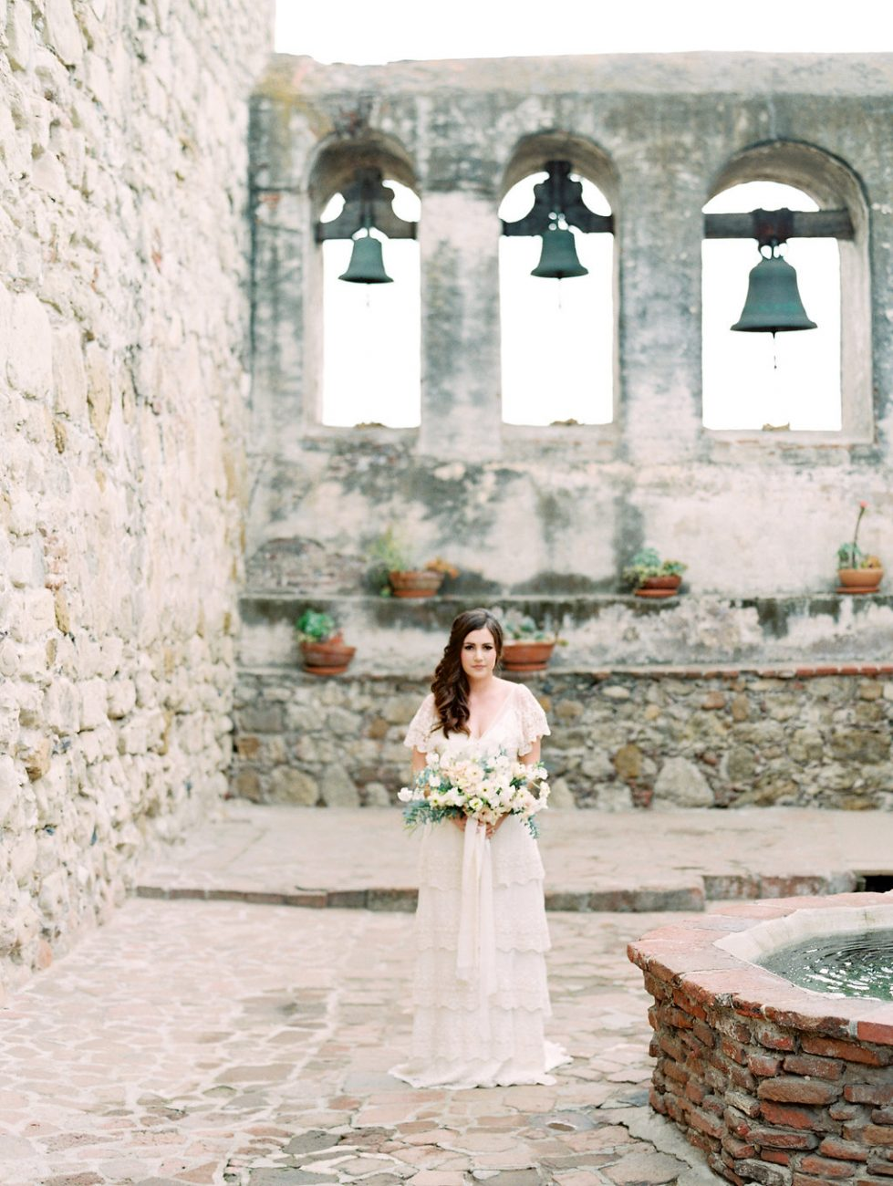 Orange Country wedding inspiration bells with bride
