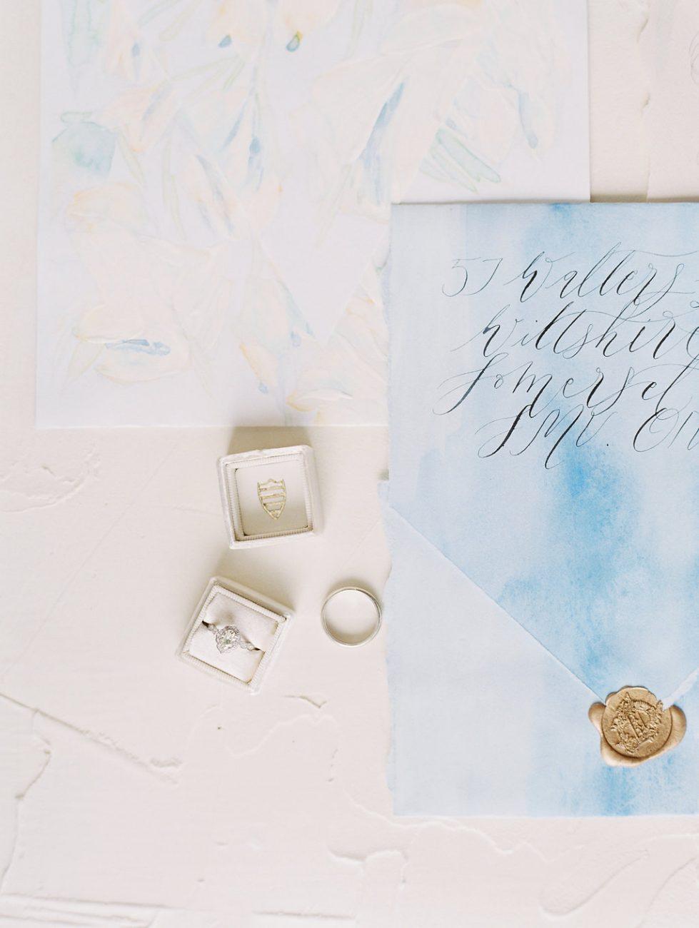 Orange Country wedding inspiration blue envelope