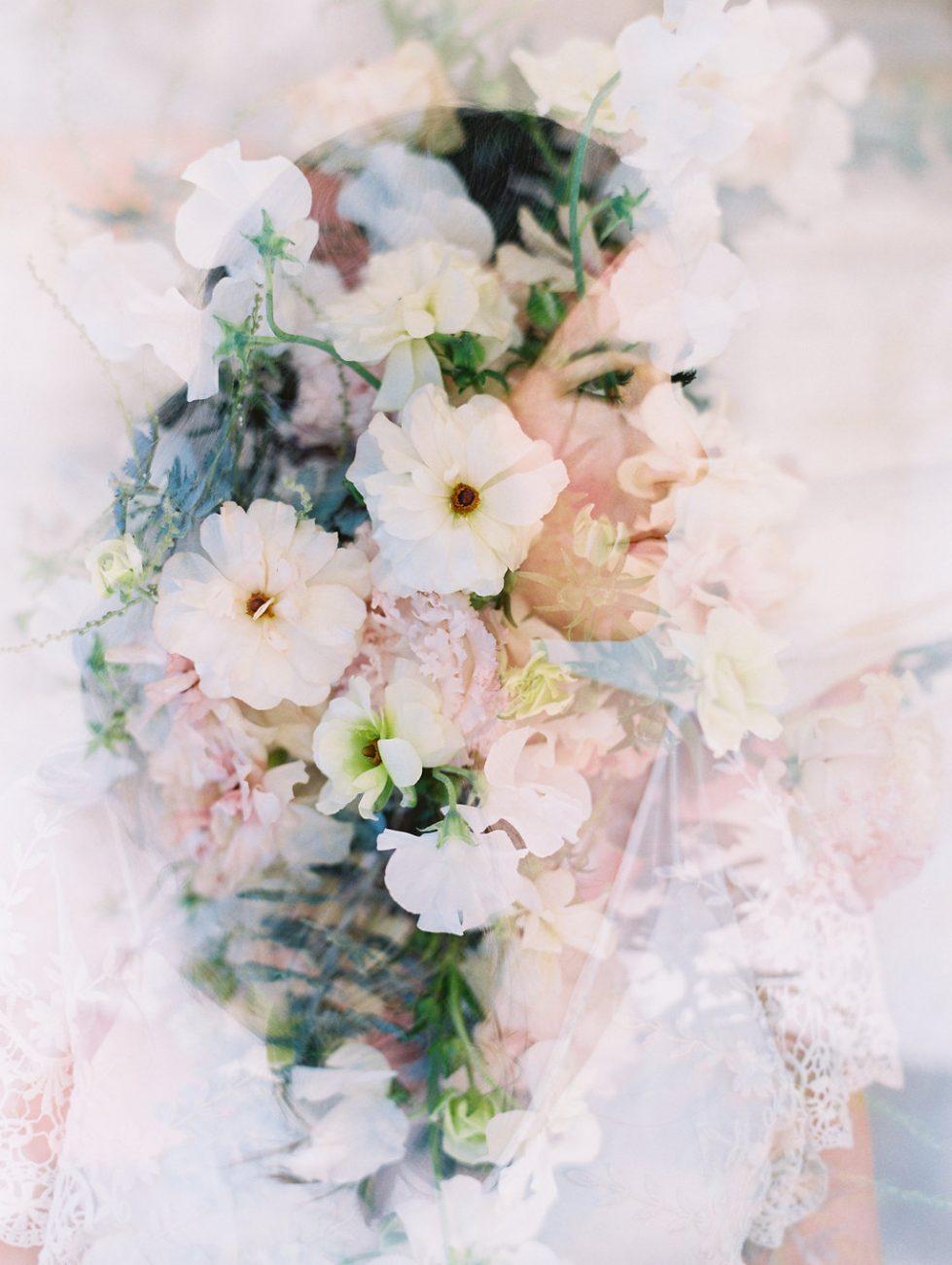 Orange Country wedding inspiration flowers double exposure