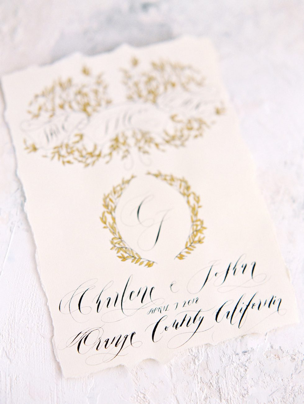 Orange Country wedding inspiration hand painted wedding invitations gold save the date black calligraphy