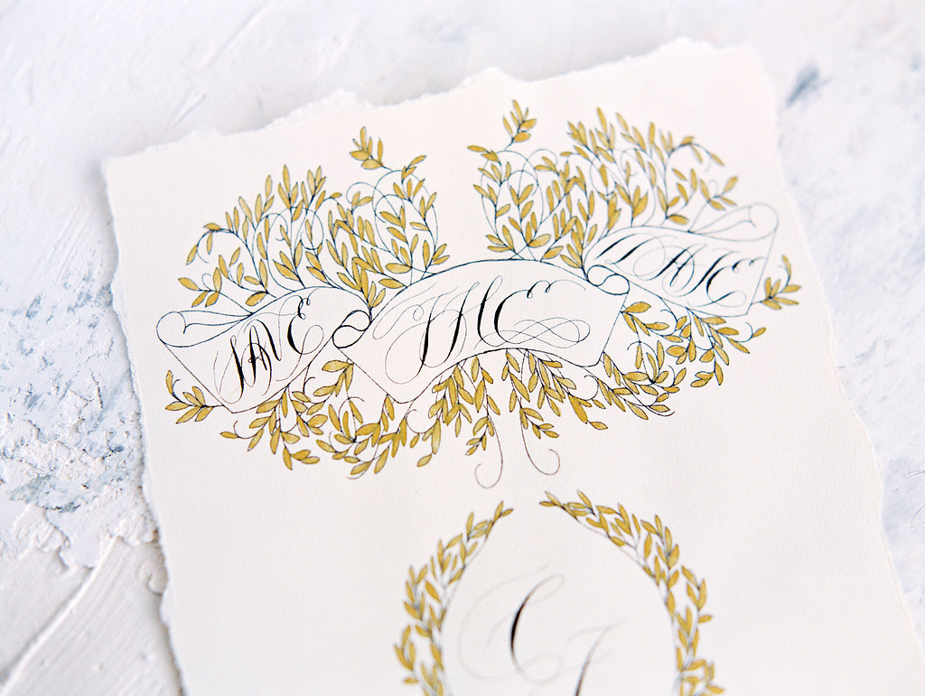 Orange Country wedding inspiration hand painted wedding invitations gold save the date flowers