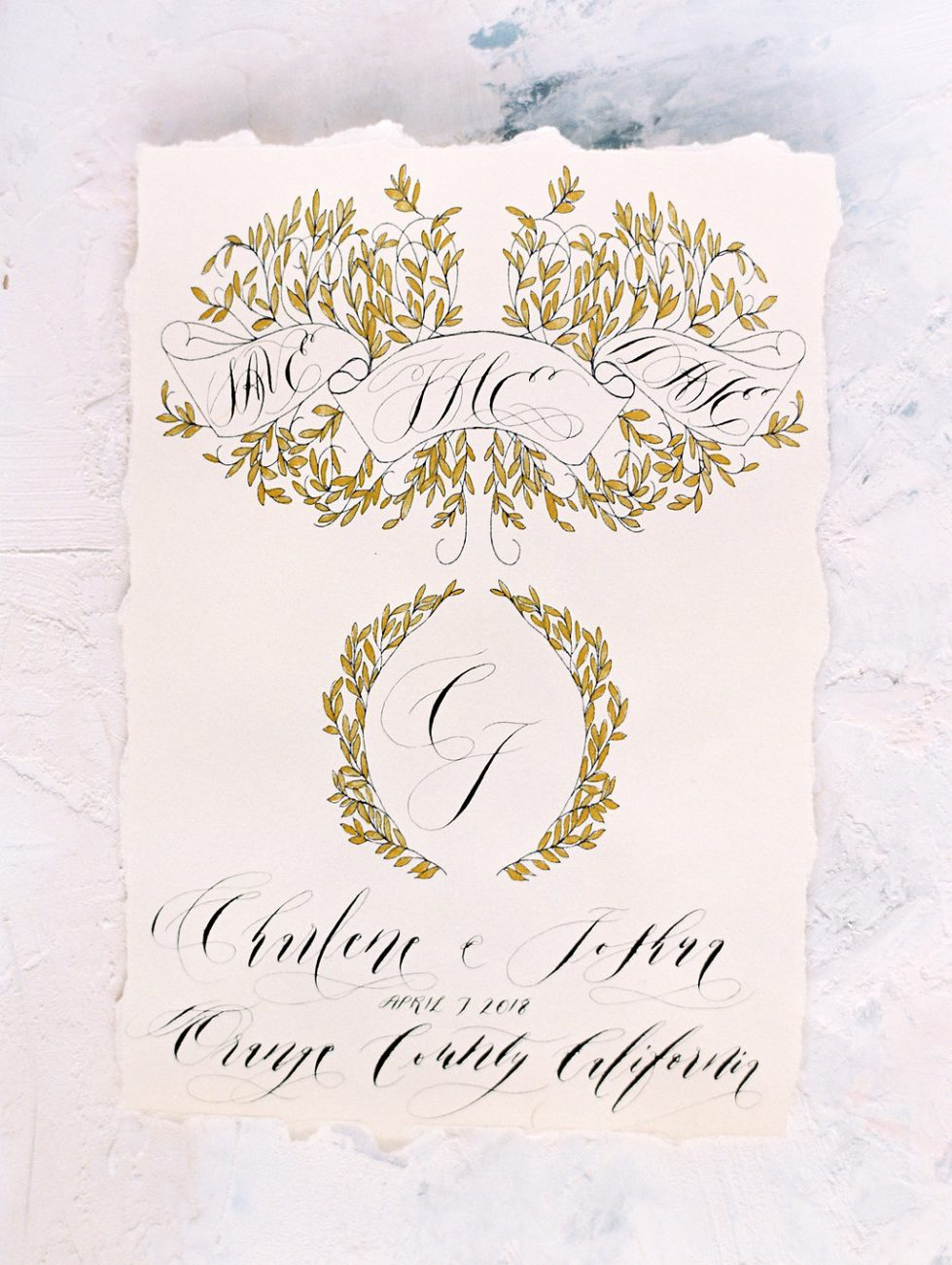 Orange Country wedding inspiration hand painted wedding invitations gold save the date angled