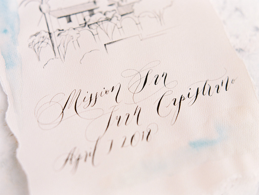 Orange Country wedding inspiration hand painted wedding invitations calligraphy and venue double exposure