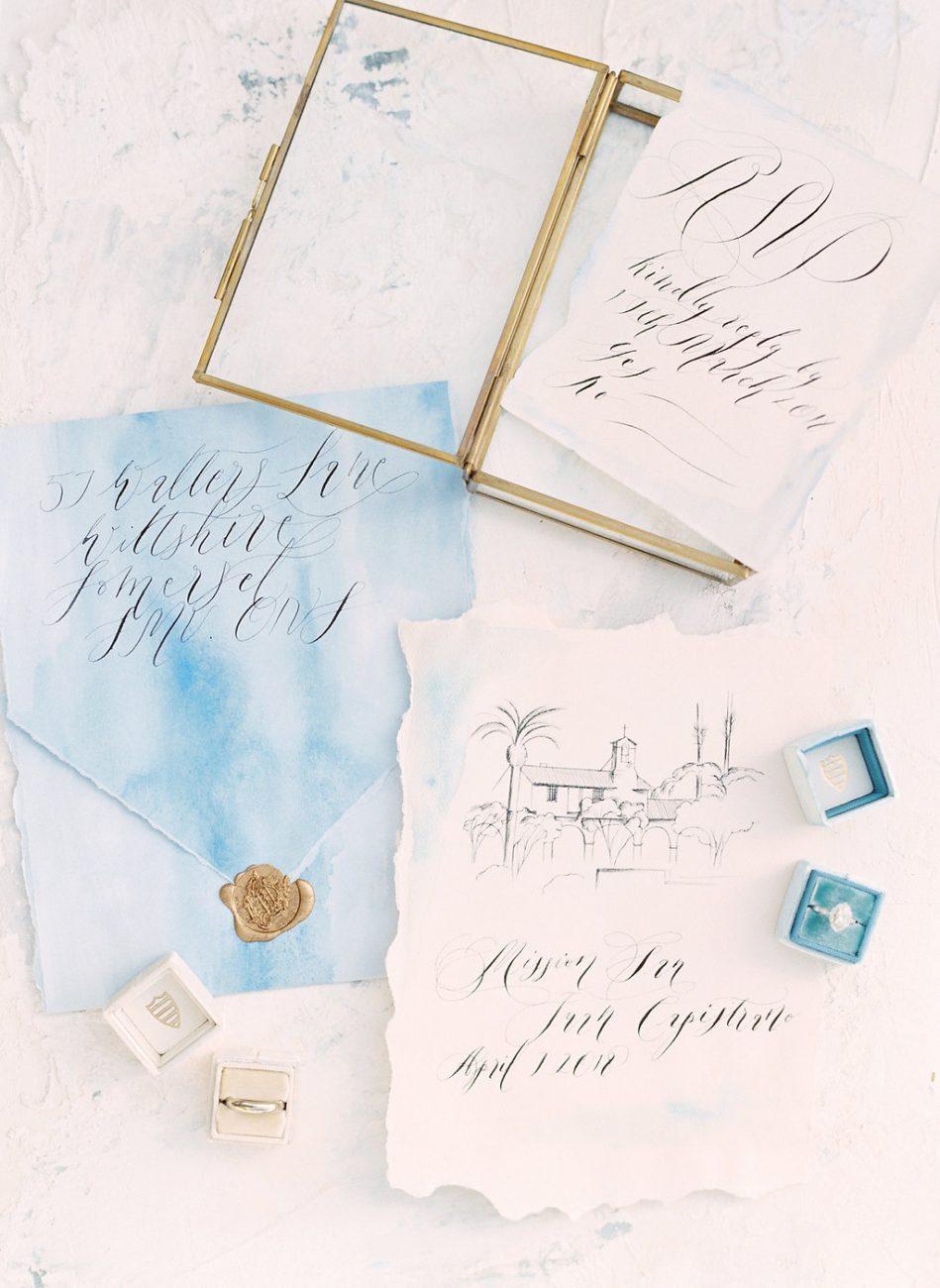 Orange Country wedding inspiration wedding invitations with rsvp card