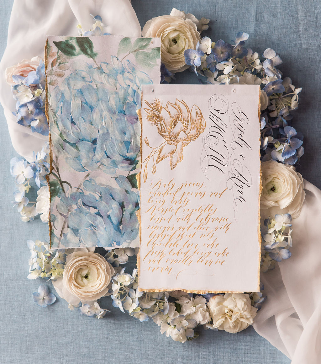 Romantic wedding menu with gold calligraphy and hand painted watercolour floral design