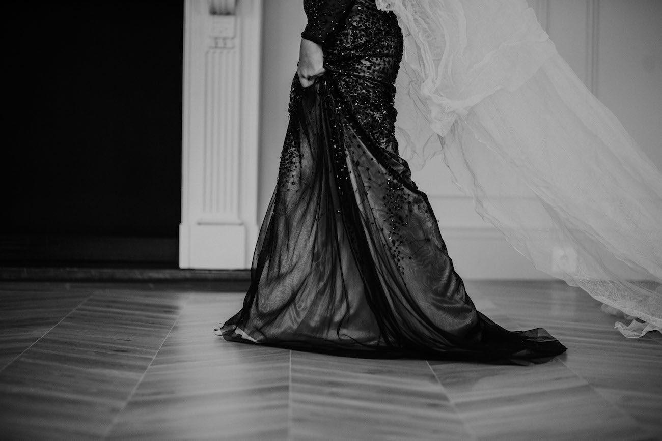 Fine Art Black Tie Wedding Inspiration Shoot Black dress bottom