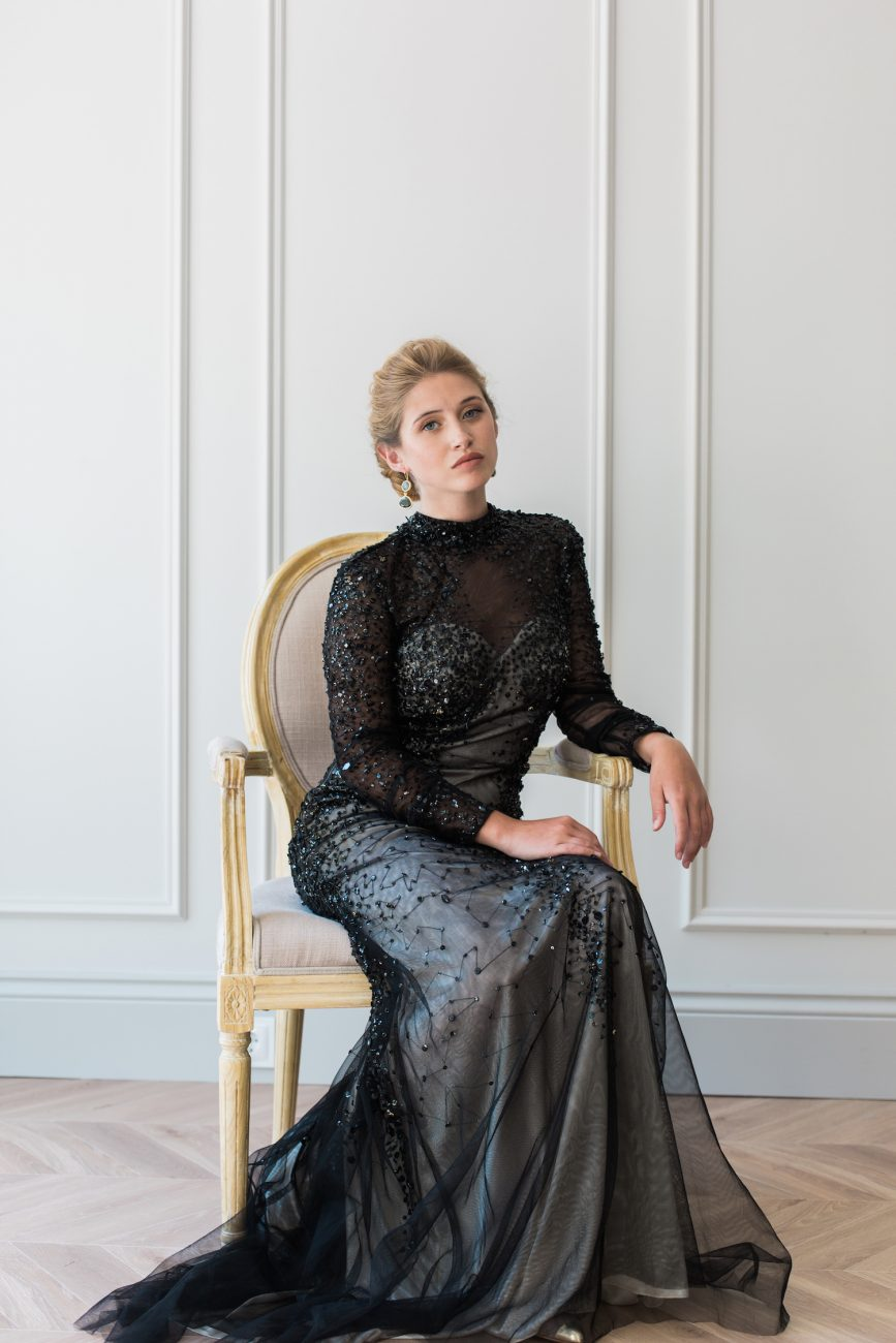 Fine Art Black Tie Wedding Inspiration Shoot bride on chair